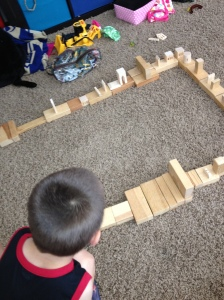 After the hard work of spelling and math was done, we headed over to our blocks for some engineering - although Nicholas just thinks he' having fun building things.